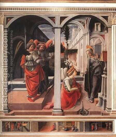 Annunciation c. 1445 by Fra Filippo Lippi - Reproduction Oil Painting