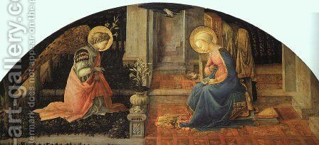 Annunciation  1448-50 by Fra Filippo Lippi - Reproduction Oil Painting