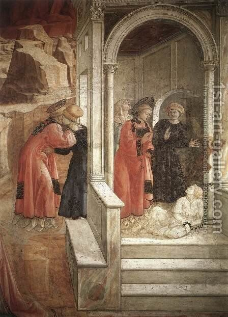 Disputation in the Synagogue (detail-2) 1452-65 by Fra Filippo Lippi - Reproduction Oil Painting