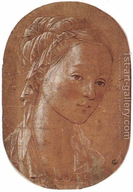 Head of a Woman c. 1452 by Fra Filippo Lippi - Reproduction Oil Painting