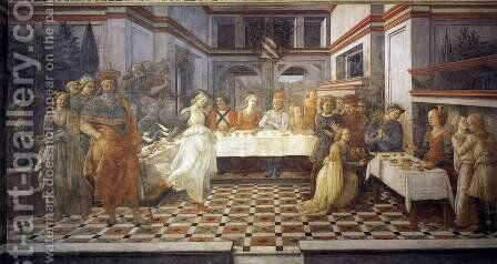 Herod's Banquet 1452-65 by Fra Filippo Lippi - Reproduction Oil Painting