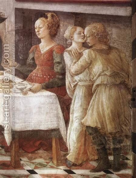 Herod's Banquet (detail-3) 1452-65 by Fra Filippo Lippi - Reproduction Oil Painting