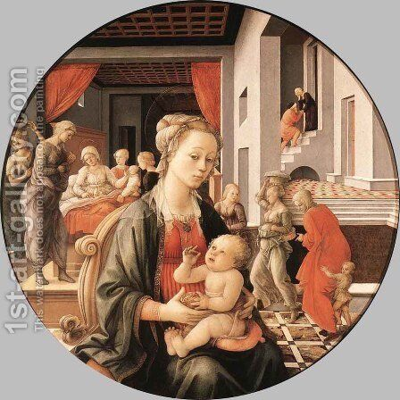 Madonna & Child with Stories from the Life of St. Anne by Fra Filippo Lippi - Reproduction Oil Painting