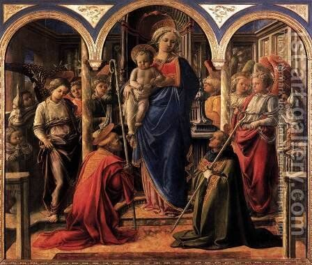 Madonna and Child with St Fredianus and St Augustine 1437-38 by Fra Filippo Lippi - Reproduction Oil Painting