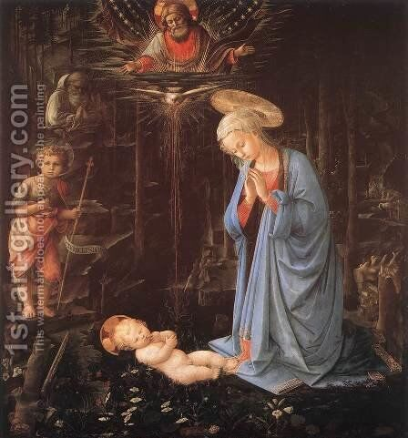 Madonna in the Forest c. 1460 by Fra Filippo Lippi - Reproduction Oil Painting