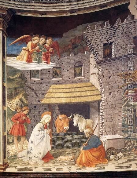 Nativity 1467-69 by Fra Filippo Lippi - Reproduction Oil Painting
