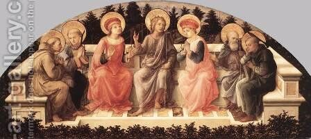 Seven Saint s 1448-50 by Fra Filippo Lippi - Reproduction Oil Painting