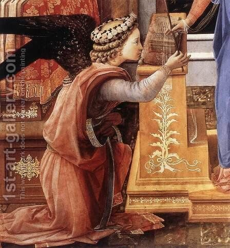 The Annunciation with two Kneeling Donors (detail-1) c. 1440 by Fra Filippo Lippi - Reproduction Oil Painting