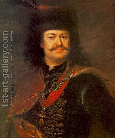 Portrait of Prince Ferenc Rákóczi II  1724 by Adam Manyoki - Reproduction Oil Painting