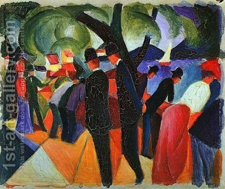 A Stroll on the Bridge (Spaziergang auf der Brücke)  1913 by August Macke - Reproduction Oil Painting