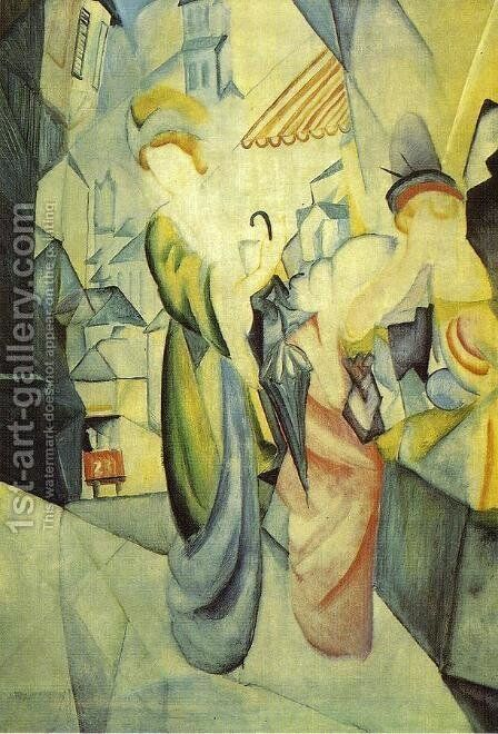 Bright Women in front of the Hat Shop (Helle Frauen vor dem Hutladen)  1913 by August Macke - Reproduction Oil Painting