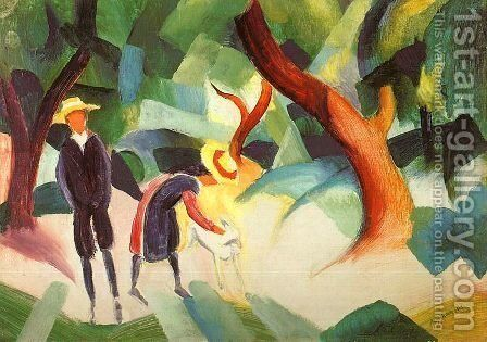 Children with Goat (Kinder mit Ziege) 1913 by August Macke - Reproduction Oil Painting