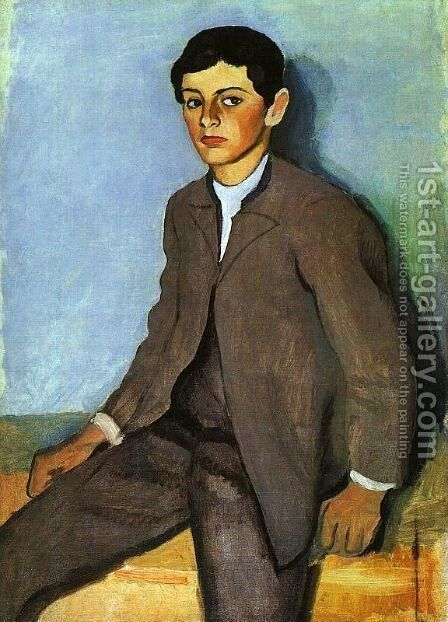 Farmboy from Tegernsee (Tegernseer Bauernjunge)  1910 by August Macke - Reproduction Oil Painting