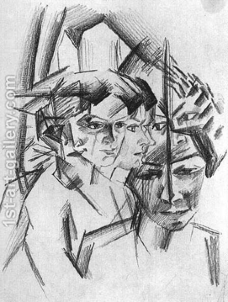 Futurist Heads (Futuristiche Kopfe)  1913 by August Macke - Reproduction Oil Painting