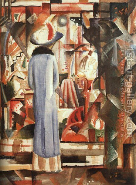 Large Bright Shop Window (Großes helles Schaufenster)  1912 by August Macke - Reproduction Oil Painting