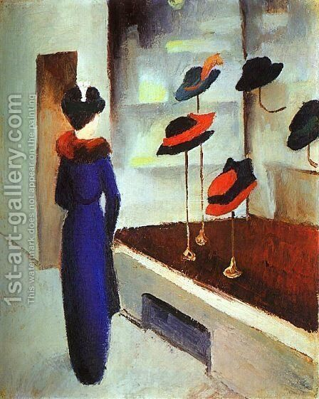 Milliner's Shop (Hutladen)  1913 by August Macke - Reproduction Oil Painting