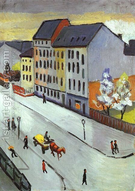 Our Street in Gray (Unsere Strasse in Grau)  1911 by August Macke - Reproduction Oil Painting