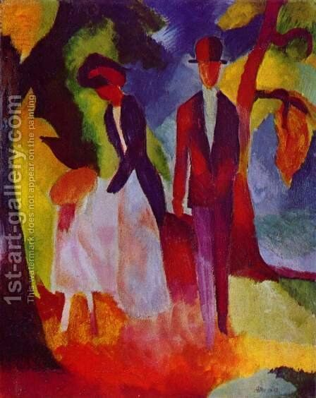 People by a Blue Lake (Leute am Blauen See)  1913 by August Macke - Reproduction Oil Painting