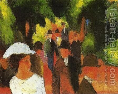 Promenade with Half-Length of Girl in White  1914 by August Macke - Reproduction Oil Painting