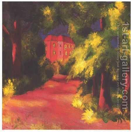 Red House in a Park 1914 by August Macke - Reproduction Oil Painting