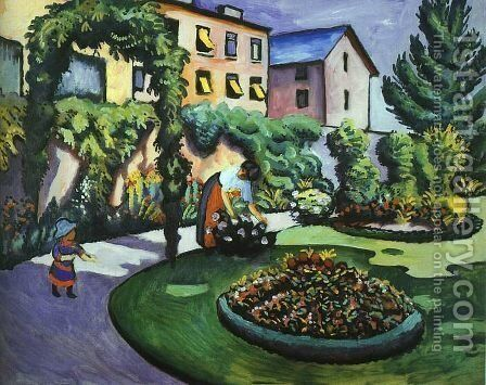 The Mackes' Garden at Bonn  1911 by August Macke - Reproduction Oil Painting