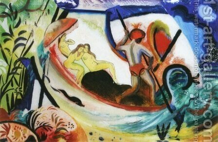 Three Girls in a Barque (Drei Madchen in einer Barke)  1911 by August Macke - Reproduction Oil Painting