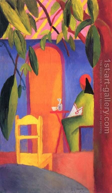 Turkish Cafe II  1914 by August Macke - Reproduction Oil Painting