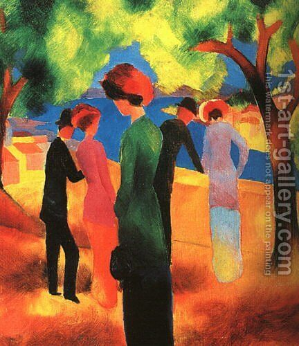 Woman in a Green Jacket  1913 by August Macke - Reproduction Oil Painting
