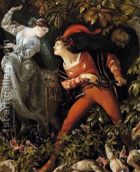 """A Scene from """"Undine"""" (detail)  1843 by Daniel Maclise - Reproduction Oil Painting"""