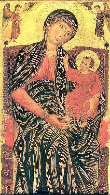 Madonna and Child Enthroned with Two Angels  1260s or 70s by Master of Magdalen - Reproduction Oil Painting