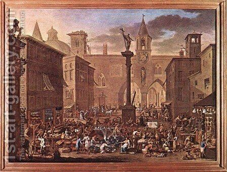 Market by Alessandro Magnasco - Reproduction Oil Painting