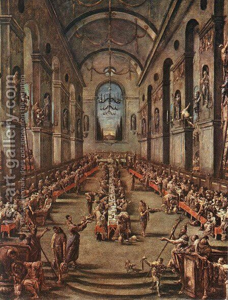The Observant Friars in the Refectory 1736-37 by Alessandro Magnasco - Reproduction Oil Painting