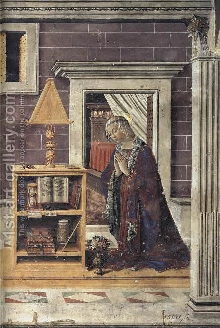 Annunciation (detail-2) c. 1482 by Bastiano Mainardi - Reproduction Oil Painting