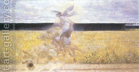 In the Dust Storm 1893 by Jacek Malczewski - Reproduction Oil Painting