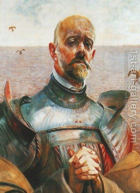 Self-Portrait in Armor 1914 by Jacek Malczewski - Reproduction Oil Painting