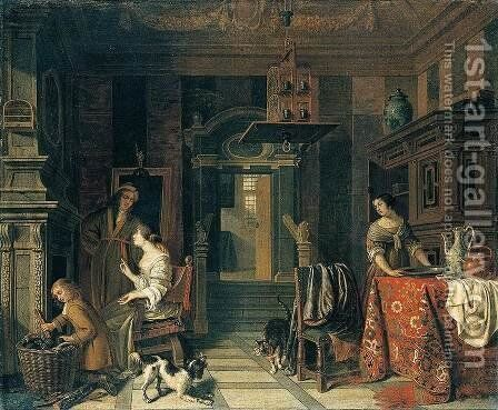 Interior of a Townhouse by Cornelis De Man - Reproduction Oil Painting
