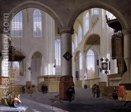 Interior of the Oude Kerk, Delft (2) by Cornelis De Man - Reproduction Oil Painting