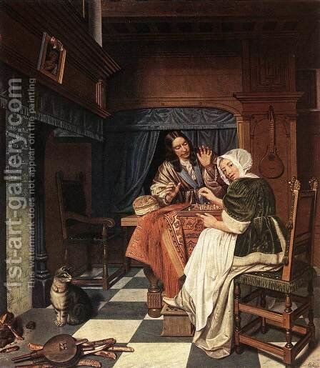 The Chess Players c. 1670 by Cornelis De Man - Reproduction Oil Painting
