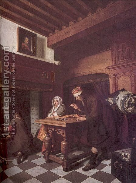 The Gold Weigher 1670-75 by Cornelis De Man - Reproduction Oil Painting