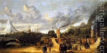 The Whale-oil Factory on Jan Mayen Island 1639 by Cornelis De Man - Reproduction Oil Painting