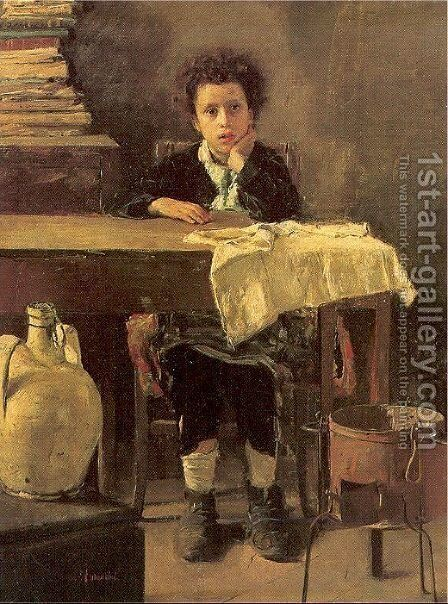 The Poor Schoolboy 1876 by Antonio Mancini - Reproduction Oil Painting