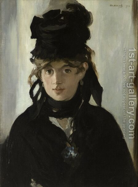 Berthe Morisot Holding a Bunch of Violets  1872 by Edouard Manet - Reproduction Oil Painting