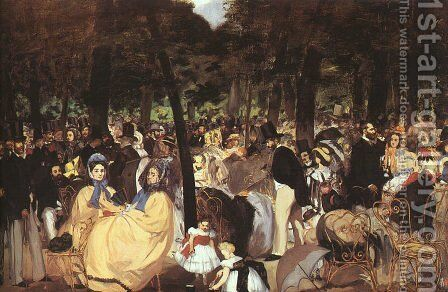 Concert in the Tuileries  1860-62 by Edouard Manet - Reproduction Oil Painting