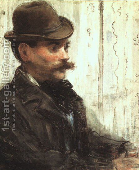 Portrait of Alphonse Maureau (Man with a Round Hat)  1880 by Edouard Manet - Reproduction Oil Painting