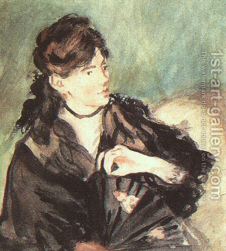 Portrait of Berthe Morisot  1873 by Edouard Manet - Reproduction Oil Painting