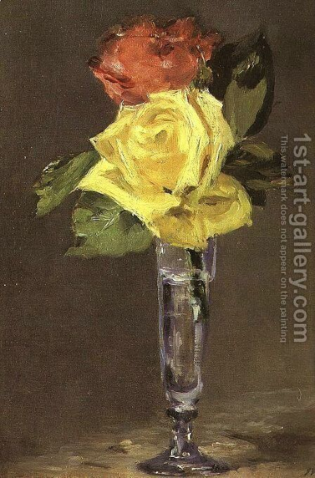 Roses in a Champagne Glass  1882 by Edouard Manet - Reproduction Oil Painting
