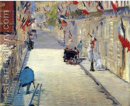 Rue Mosnier with Flags  1878 by Edouard Manet - Reproduction Oil Painting