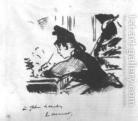 Woman Writing  1862-64 by Edouard Manet - Reproduction Oil Painting