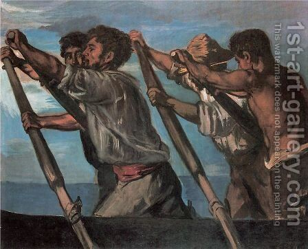 The Oarsmen  1873 by Hans von Marees - Reproduction Oil Painting