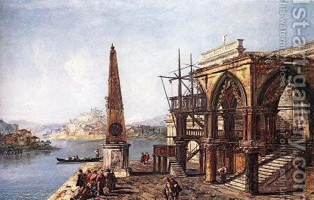 Imaginative View with Obelisk c. 1735 by Michele Marieschi - Reproduction Oil Painting